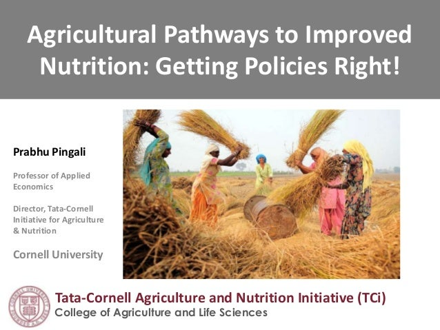 Agricultural Pathways to Improved Nutrition: Getting Policies Right! Prabhu Pingali Professor of Applied Economics Directo...
