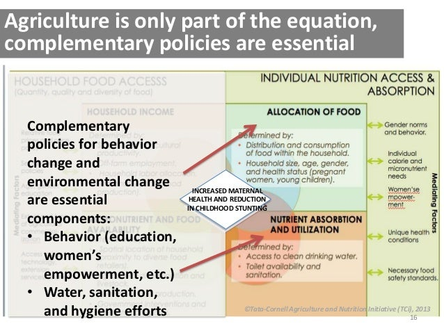 16 ©Tata-Cornell Agriculture and Nutrition Initiative (TCi), 2013 Agriculture is only part of the equation, complementary ...