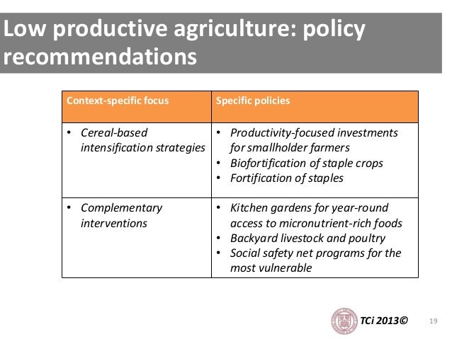 19 Low productive agriculture: policy recommendations Context-specific focus Specific policies • Cereal-based intensificat...