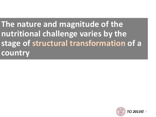 3TCi 2013© The nature and magnitude of the nutritional challenge varies by the stage of structural transformation of a cou...