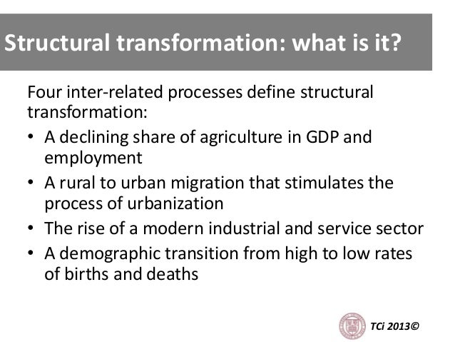 Structural Transformation: what is it? Four inter-related processes define structural transformation: • A declining share ...