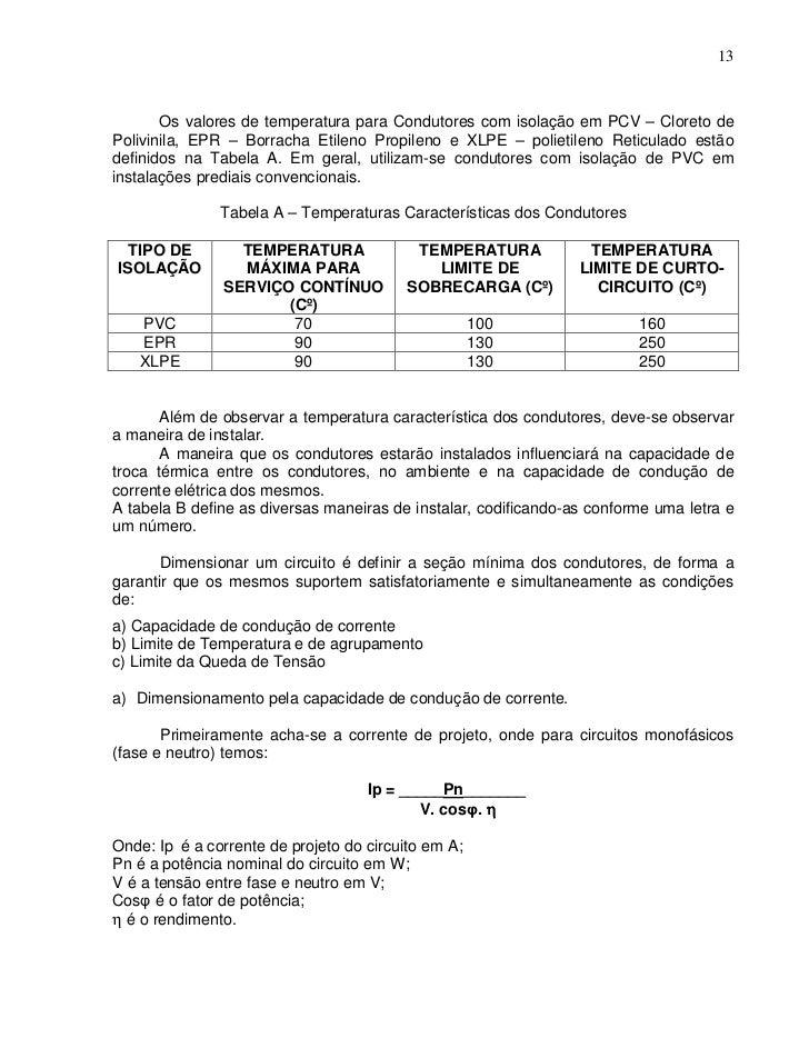 13       Os valores de temperatura para Condutores com isolação em PCV – Cloreto dePolivinila, EPR – Borracha Etileno Prop...