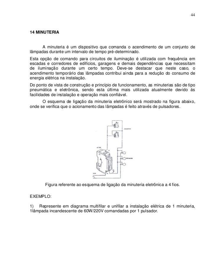 4414 MINUTERIA      A minuteria é um dispositivo que comanda o acendimento de um conjunto delâmpadas durante um intervalo ...