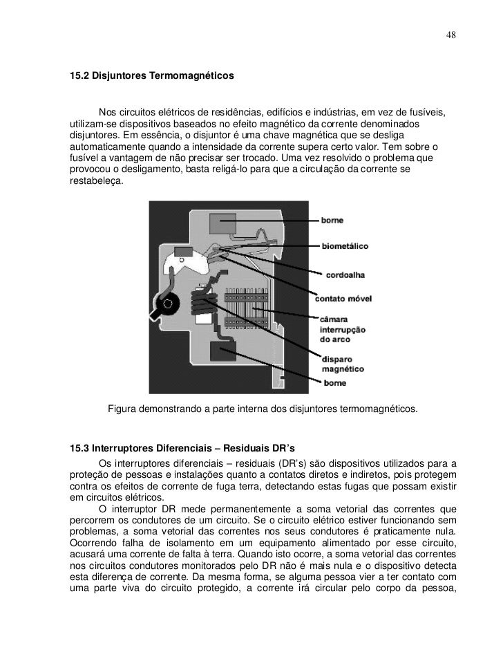 4815.2 Disjuntores Termomagnéticos       Nos circuitos elétricos de residências, edifícios e indústrias, em vez de fusívei...