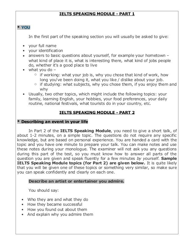 Ielts speaking-module