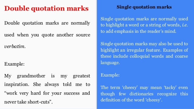 quotation marks single or double