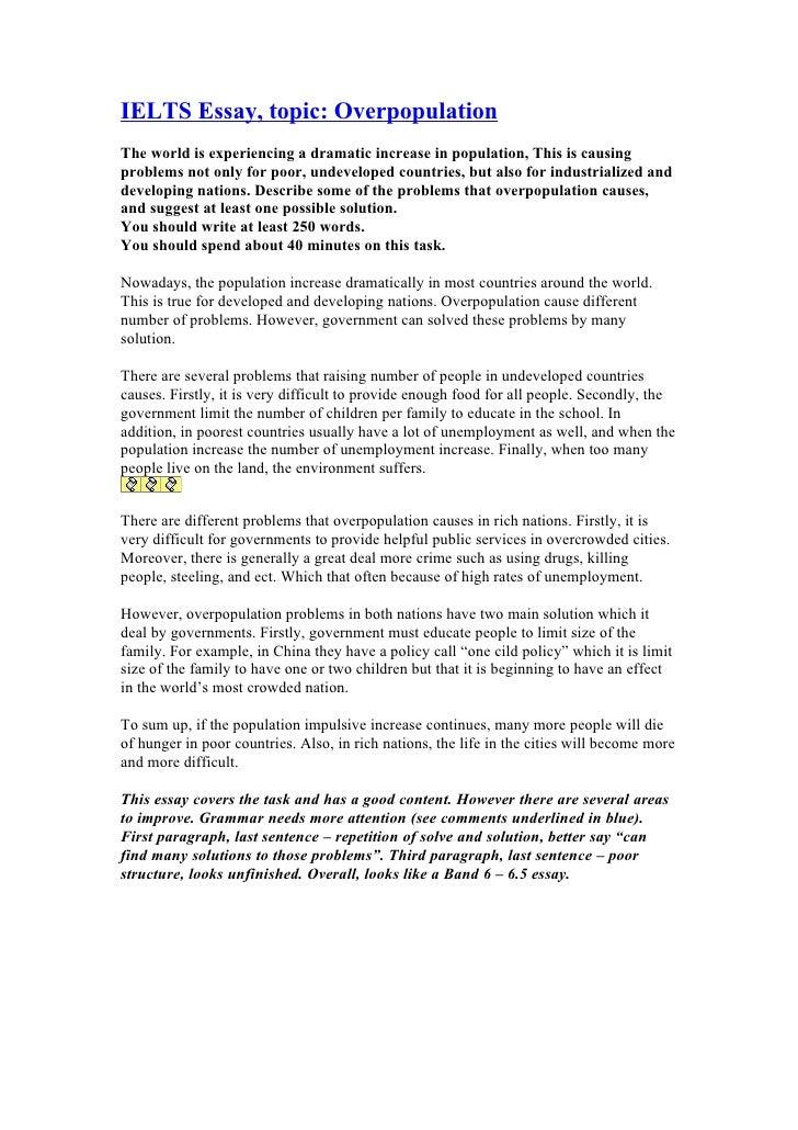 Overpopulation essay in english