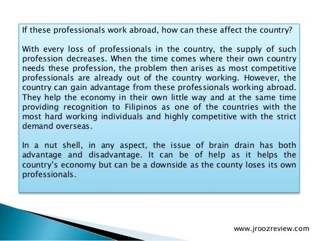 writing about brain drain for or against