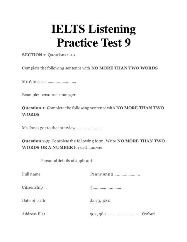 Ielts listening practice test 9- ieltsmaterial.com
