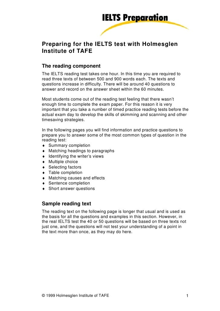 Preparing for the IELTS test with Holmesglen Institute of TAFE  The reading component The IELTS reading test takes one hou...