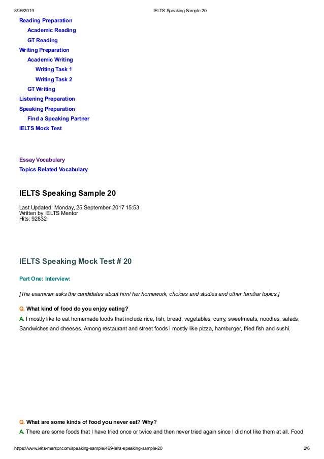 Ielts speaking questions pdf