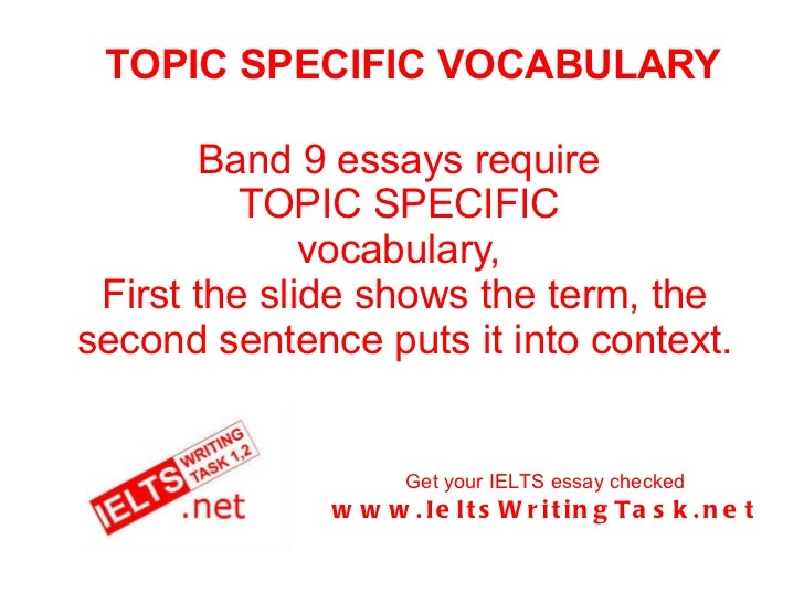 TOPIC SPECIFIC VOCABULARY Band 9 essays require  TOPIC SPECIFIC  vocabulary,  First the slide shows the term, the second s...
