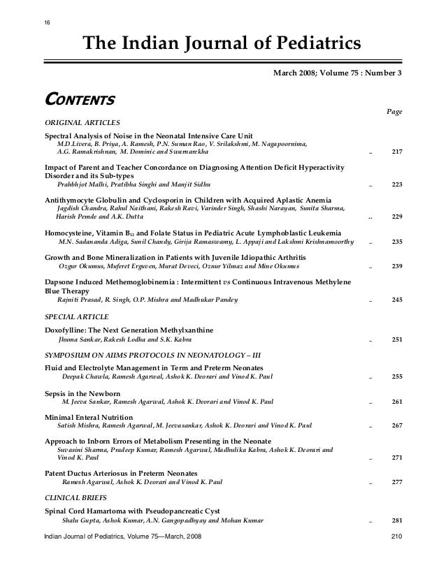 16  The Indian Journal of Pediatrics March 2008; Volume 75 : Number 3  CONTENTS Page ORIGINAL ARTICLES Spectral Analysis o...
