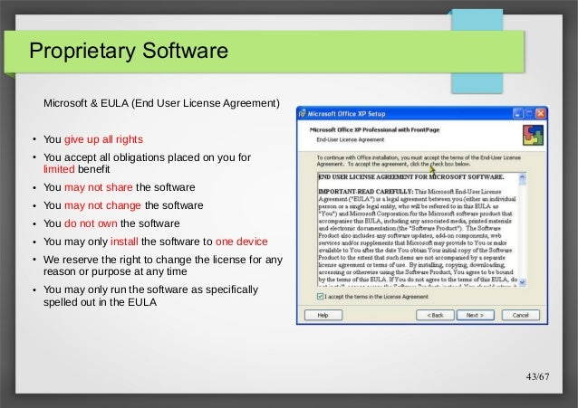 Free open source software introduction 43 proprietary software microsoft eula end user license agreement platinumwayz