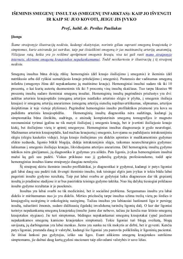 IŠEMINIS SMEGENŲ INSULTAS (SMEGENŲ INFARKTAS): KAIP JO IŠVENGTI IR KAIP SU JUO KOVOTI, JEIGU JIS ĮVYKO Prof., habil. dr. P...