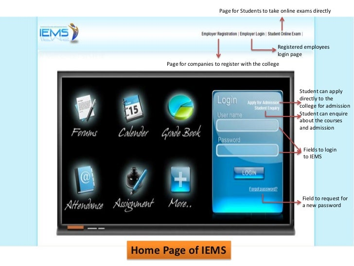 Page for Students to take online exams directly                                                    Registered employees   ...