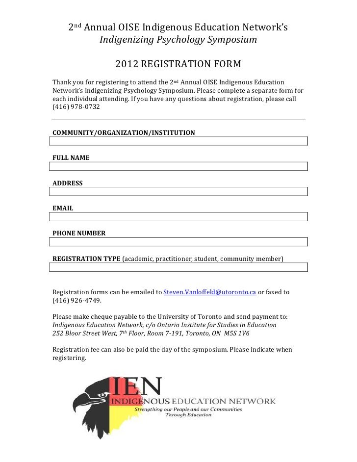 2nd Annual OISE Indigenous Education Network's            Indigenizing Psychology Symposium                     2012 REGIS...