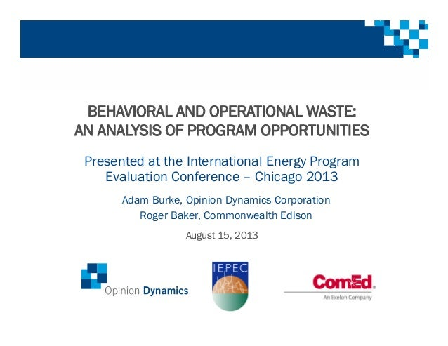 BEHAVIORAL AND OPERATIONAL WASTE: AN ANALYSIS OF PROGRAM OPPORTUNITIES Presented at the International Energy Program Evalu...