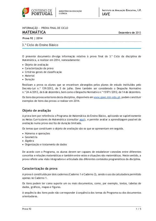 Prova 92 1 / 5 O presente documento divulga informação relativa à prova final do 3.º Ciclo da disciplina de Matemática, a...