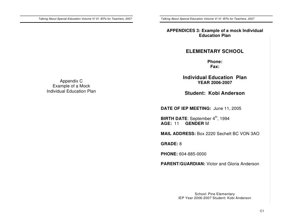 mock iep The following provides a basic iep, filled out for you to review you can print out a blank sample iep as well, and complete inform  completed sample iep eileen bailey health writer.