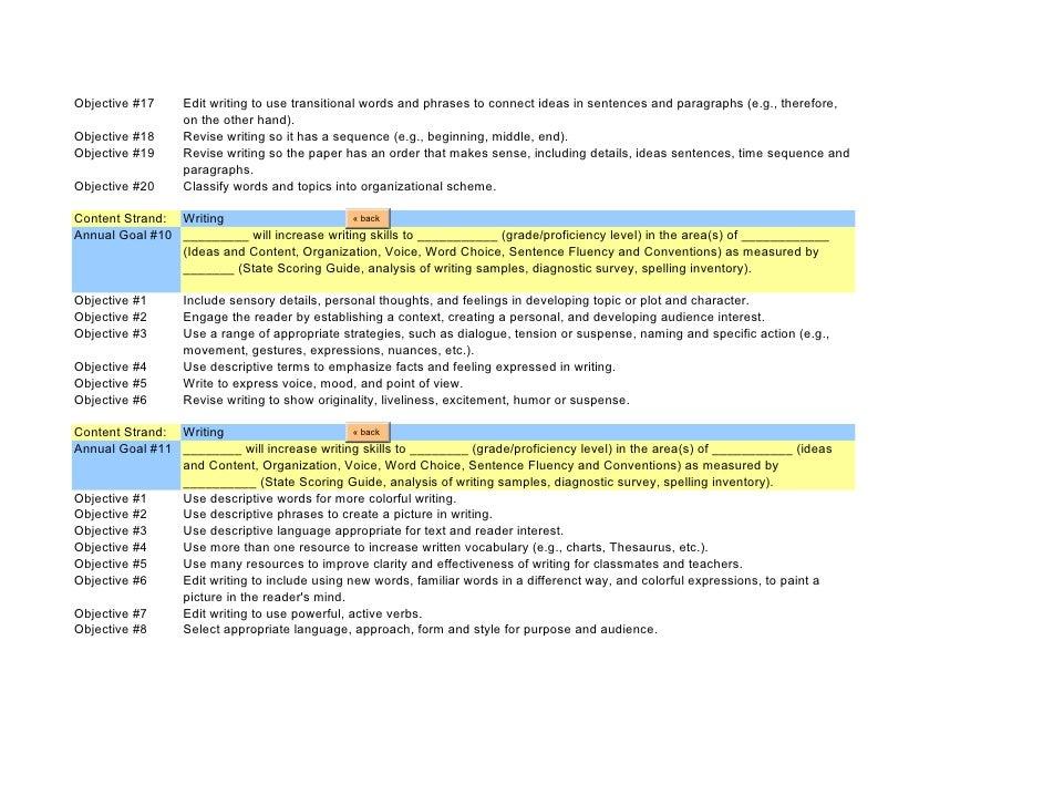 huge list of iep goals rh slideshare net