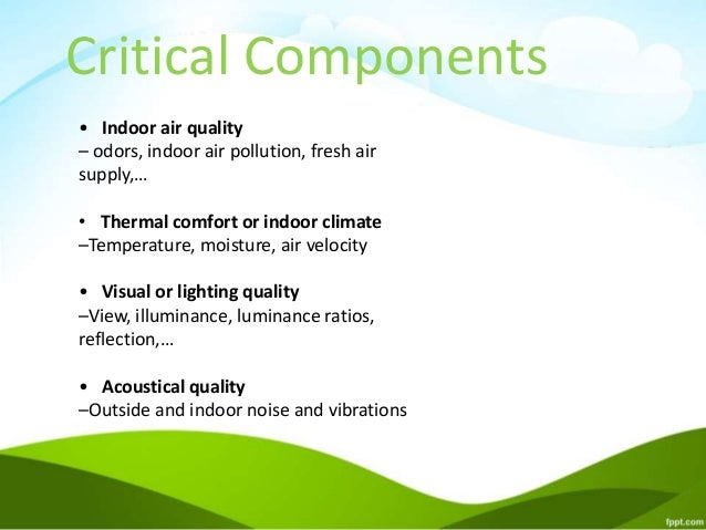 Indoor environmental quality for green buildings for Interior design and indoor air quality