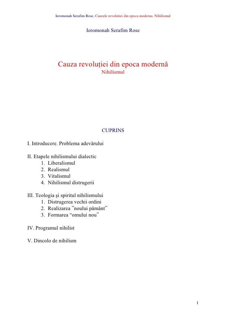 Ieromonah Serafim Rose, Cauzele revolutiei din epoca moderna. Nihilismul                                   Ieromonah Seraf...