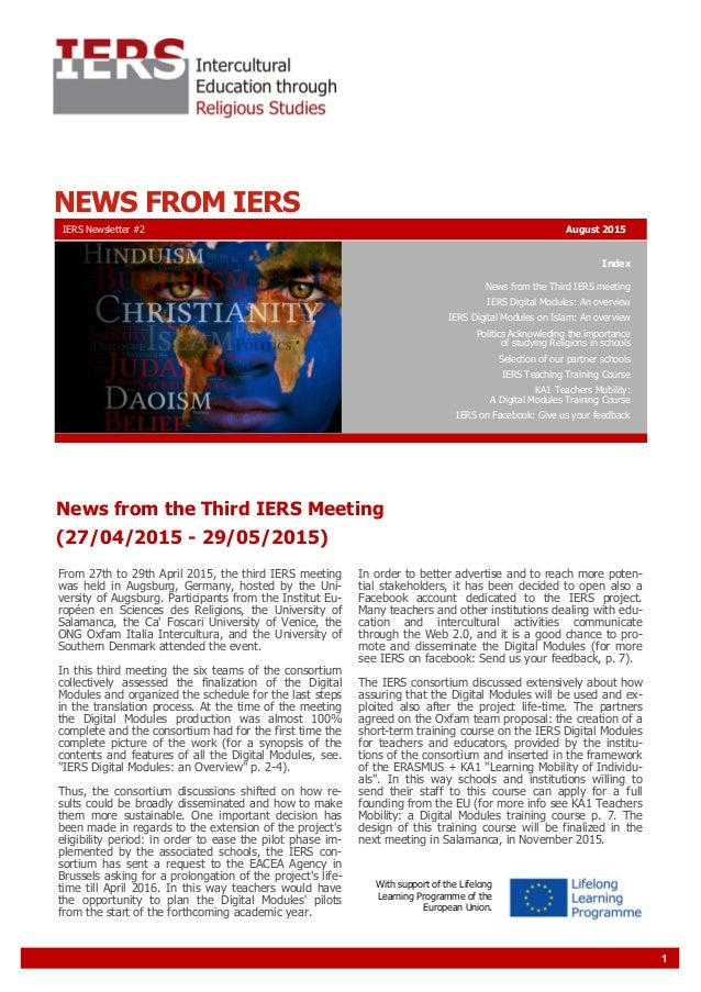 1 NEWS FROM IERS Index News from the Third IERS meeting IERS Digital Modules: An overview IERS Digital Modules on Islam: A...