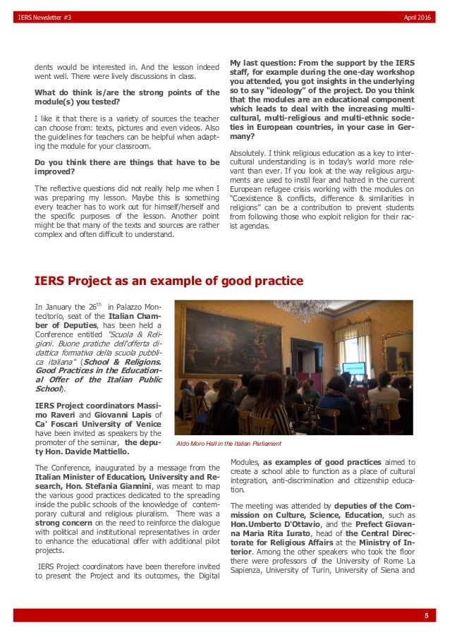 5 IERS Newsletter #3 April 2016 dents would be interested in. And the lesson indeed went well. There were lively discussio...