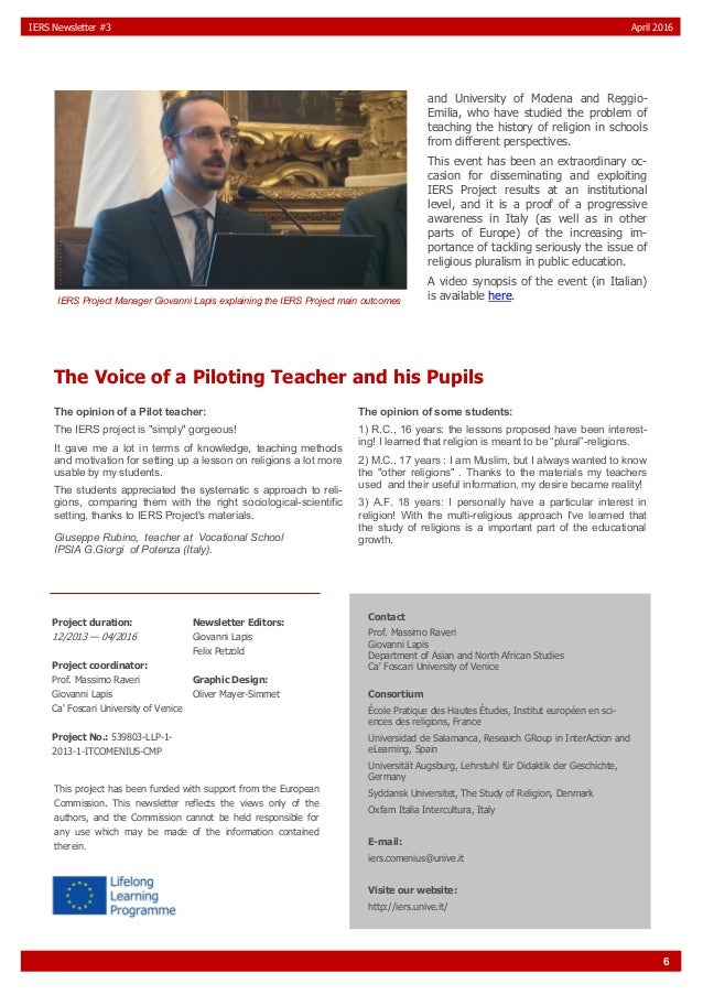6 IERS Newsletter #3 April 2016 and University of Modena and Reggio- Emilia, who have studied the problem of teaching the ...