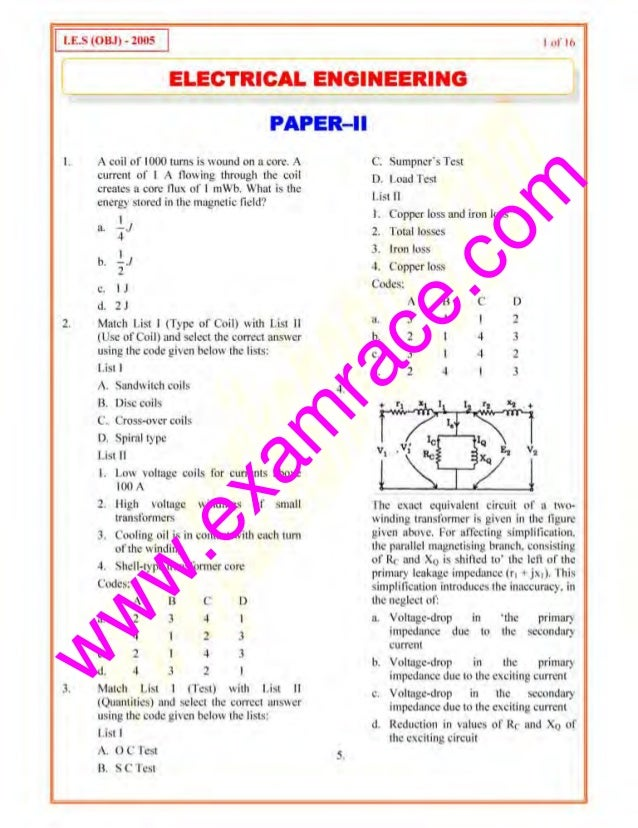 w w w .exam race.com 1 u:.~ (0 8.1) -1oos 1 I ul' Ill I___ ELECTRICAL ENGINEERING J I. 2. 3. PAPER-II A coil of 1000 turns...