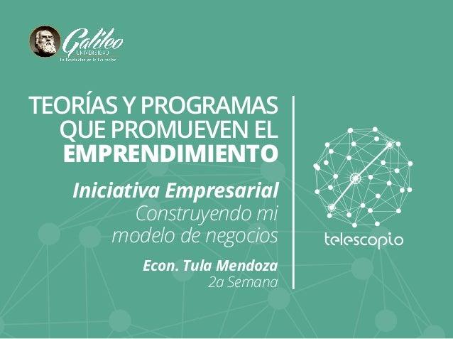 TEORÍAS Y PROGRAMAS  QUE PROMUEVEN EL  EMPRENDIMIENTO  Iniciativa Empresarial  Construyendo mi  modelo de negocios  Econ. ...