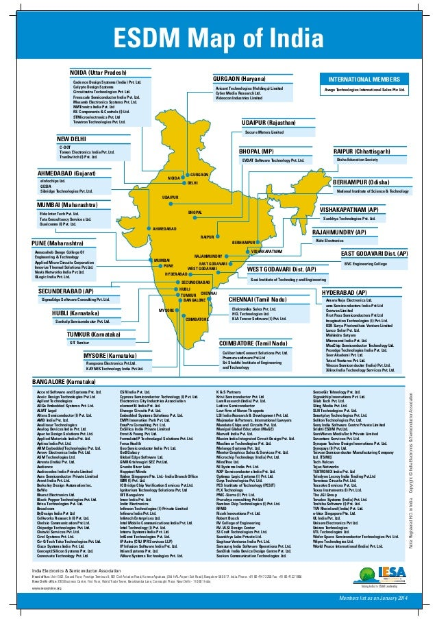 BANGALORE (Karnataka) ESDM Map of India Members list as on January 2014 Accord Software and Systems Pvt. Ltd. Aceic Design...