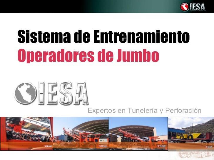 Sistema de EntrenamientoOperadores de Jumbo         Expertos en Tunelería y Perforación