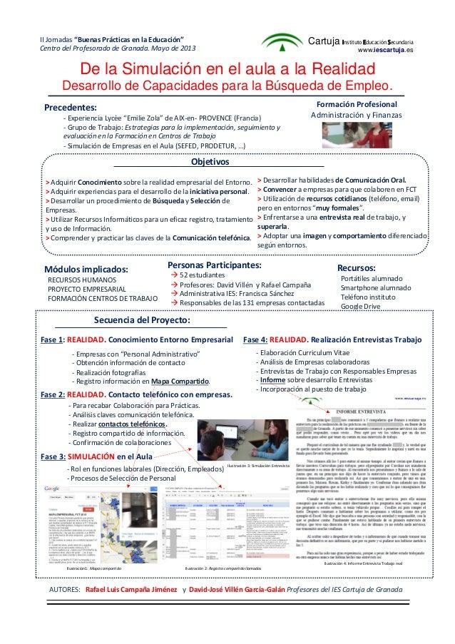 De la Simulación en el aula a la RealidadDesarrollo de Capacidades para la Búsqueda de Empleo.Precedentes:- Experiencia Ly...