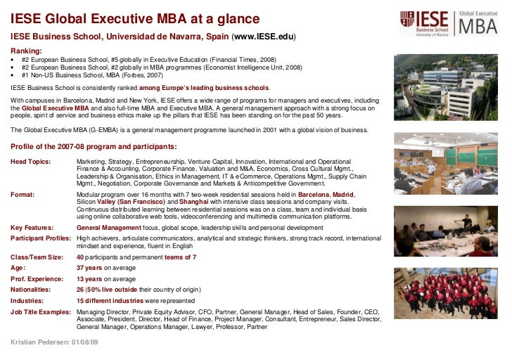 Iese G Emba 2007 08 At A Glance