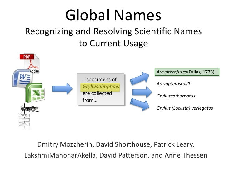 Global NamesRecognizing and Resolving Scientific Names             to Current Usage                                       ...