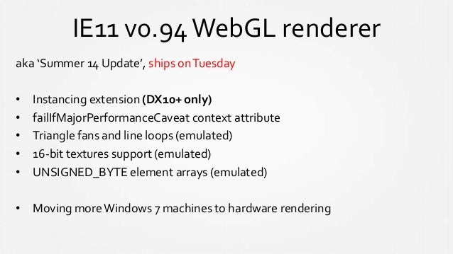Up next… • The IE team has joined the KhronosWebGLWG • Video textures • Your feedback is very helpful!
