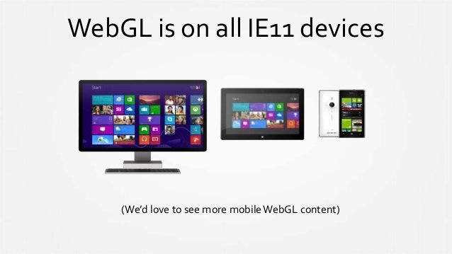 WebGL is on all IE11 devices (We'd love to see more mobileWebGL content)