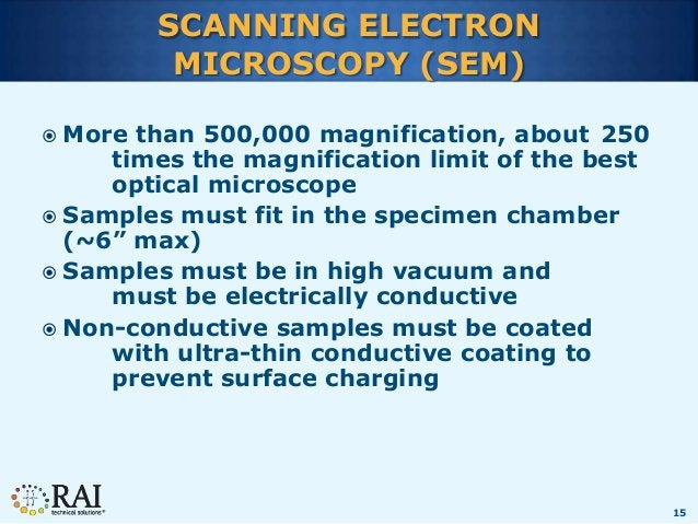 15 SCANNING ELECTRON MICROSCOPY (SEM)  More than 500,000 magnification, about 250 times the magnification limit of the be...