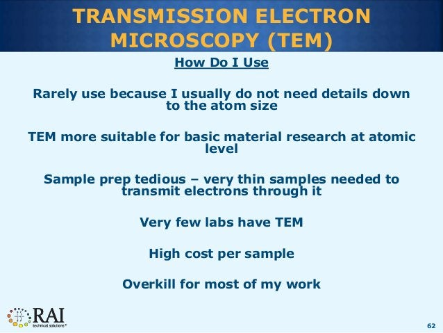 62 TRANSMISSION ELECTRON MICROSCOPY (TEM) How Do I Use Rarely use because I usually do not need details down to the atom s...