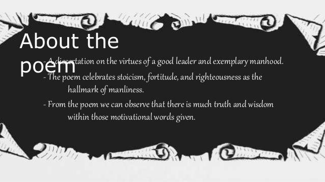 Subject Matter Manhood Leadership Ideal Characteristics Attitude towards life Time Dreams Patience