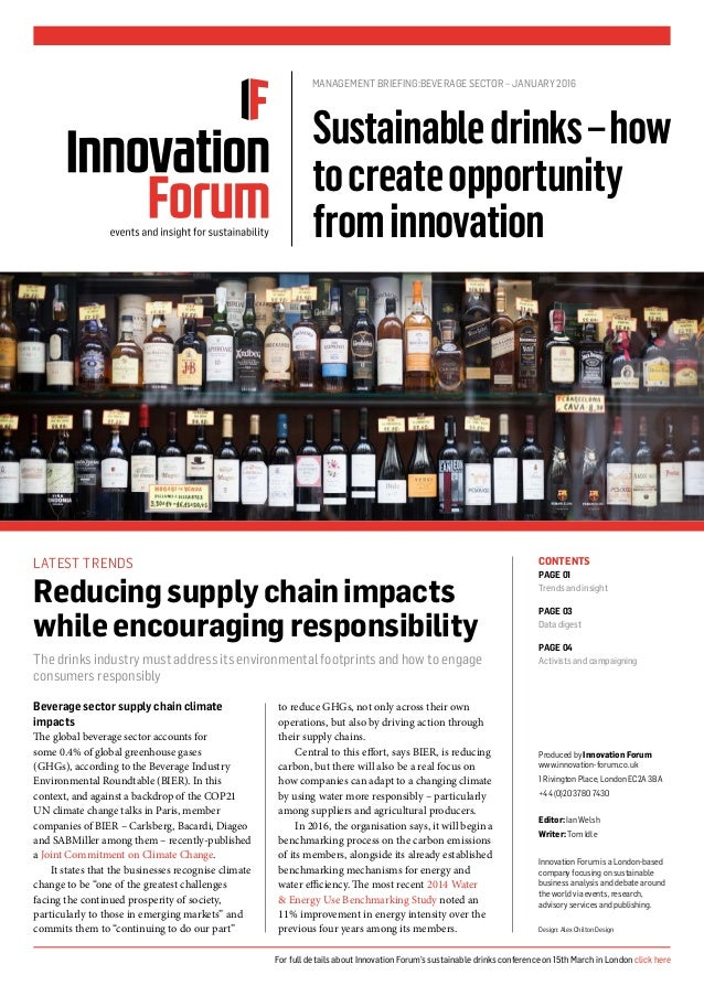Beverage sector supply chain climate impacts The global beverage sector accounts for some 0.4% of global greenhouse gases ...