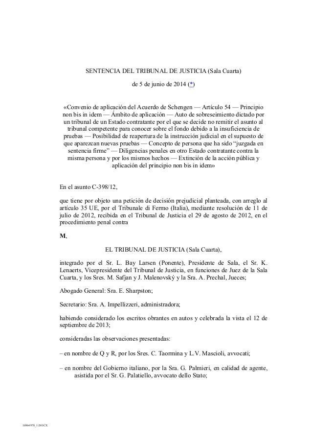 16964978_1.DOCX SENTENCIA DEL TRIBUNAL DE JUSTICIA (Sala Cuarta) de 5 de junio de 2014 (*) «Convenio de aplicación del Acu...