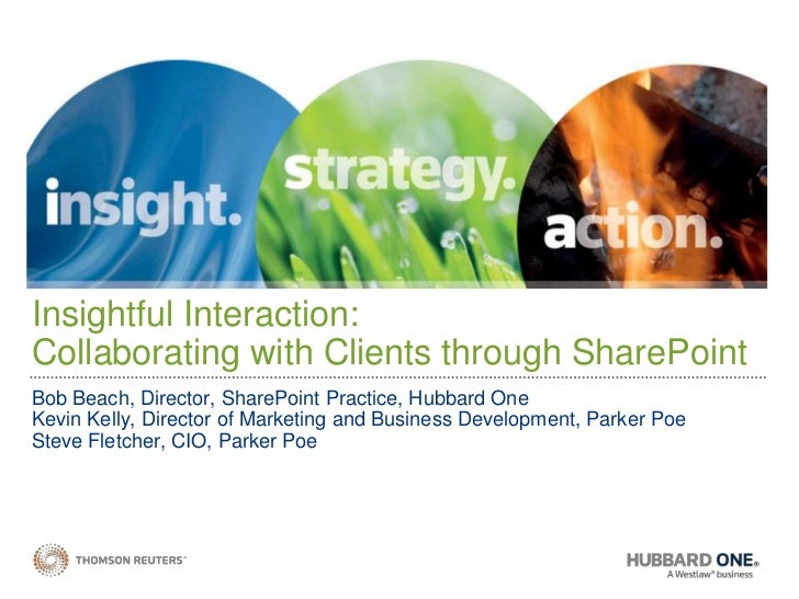 Insightful Interaction: Collaborating with Clients through SharePoint Bob Beach, Director, SharePoint Practice, Hubbard On...