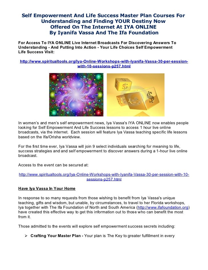Self Empowerment And Life Success Master Plan Courses For        Understanding and Finding YOUR Destiny Now           Offe...