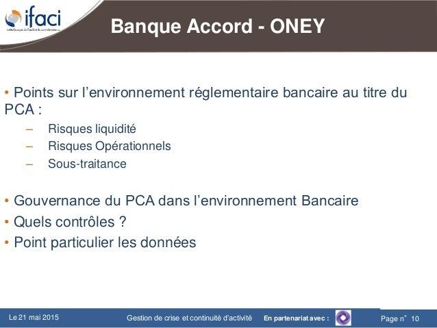 Ifaci gestion de crise et continuit d 39 activit 21 mai 2015 - Prelevement oney banque accord ...