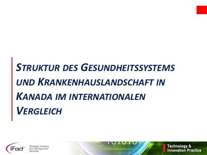 1STRUKTUR DES GESUNDHEITSSYSTEMSUND KRANKENHAUSLANDSCHAFT INKANADA IM INTERNATIONALENVERGLEICH