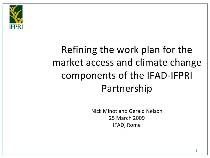 Refining the work plan for the market access and climate change components of the IFAD-IFPRI Partnership Nick Minot and Ge...