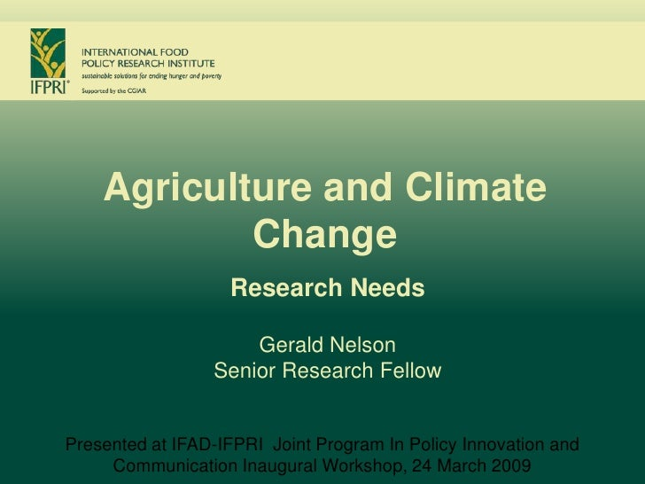 Agriculture and Climate                    Change                                Research Needs                           ...